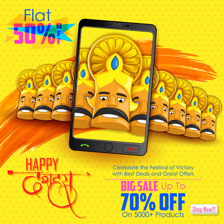 religious backgrounds: illustration of ten headed Ravana for mobile application sale promotion with hindi text meaning Dussehra