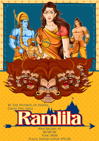 sita: illustration of Lord Rama, Sita, Laxmana, Hanuman and Ravana in Ramlila, epic play poster