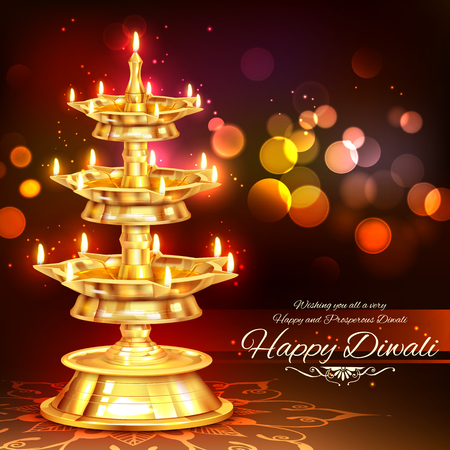 editable invitation: illustration of golden diya stand on abstract Diwali background