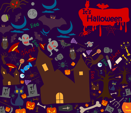 celebration background: Happy Halloween holiday celebration background in vector Illustration
