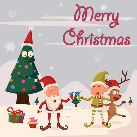 elf hat: Santa, Elf and Reindeer celebrating Merry Christmas holiday in vector