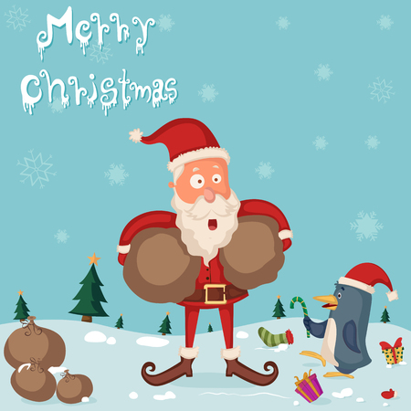 new year greeting: Santa Claus with gift for Merry Christmas holiday greeting card background in vector
