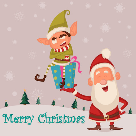 elf hat: Santa and Elf in Merry Christmas holiday greeting card background in vector