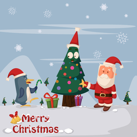 hat santa: Santa Claus with gift for Merry Christmas holiday greeting card background in vector