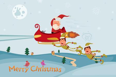 chariot: Santa and Elf flying in sleigh for Merry Christmas holiday background in vector Illustration