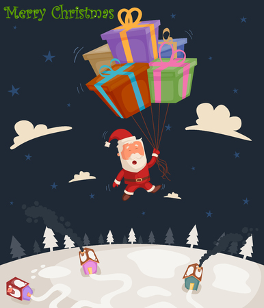 christmas party people: Santa Claus with gift for Merry Christmas holiday greeting card background in vector