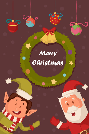 wreathe: Santa and Elf in Merry Christmas holiday greeting card background in vector