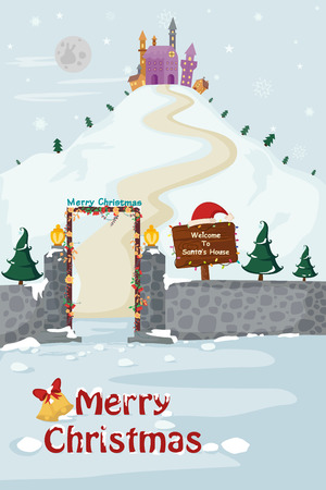 holiday house: Santas House in Merry Christmas holiday greeting card background in vector