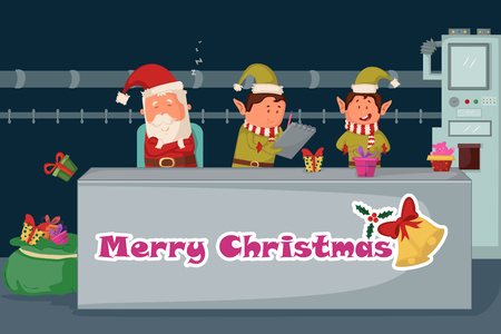 card making: Santa and Elf making gift for Merry Christmas holiday greeting card background in vector Illustration