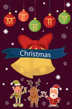 elf christmas: Santa, Elf and Reindeer celebrating Merry Christmas holiday in vector