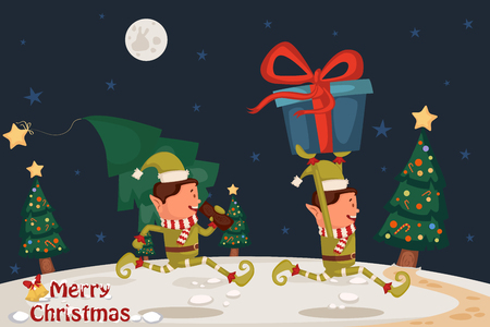 elf hat: Eif with gift for Merry Christmas holiday greeting card background in vector
