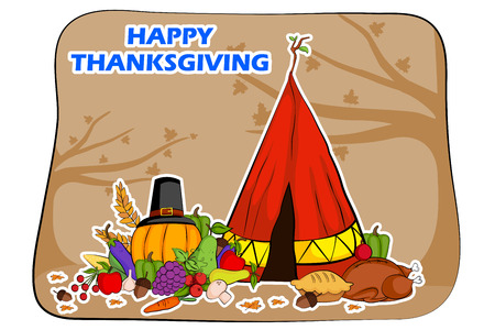 holiday greeting: Happy Thanksgiving holiday greeting card in vector Illustration