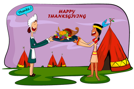 pilgrim costume: Happy Thanksgiving holiday greeting card in vector Illustration
