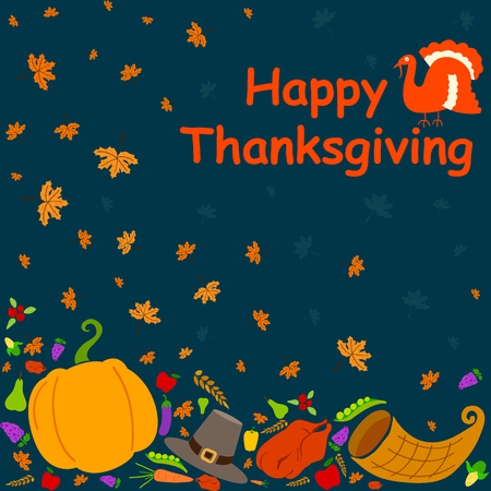 a holiday greeting: Happy Thanksgiving holiday greeting card in vector Illustration