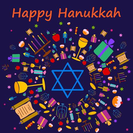 candelabrum: Happy Hanukkah holiday greeting background in vector Illustration