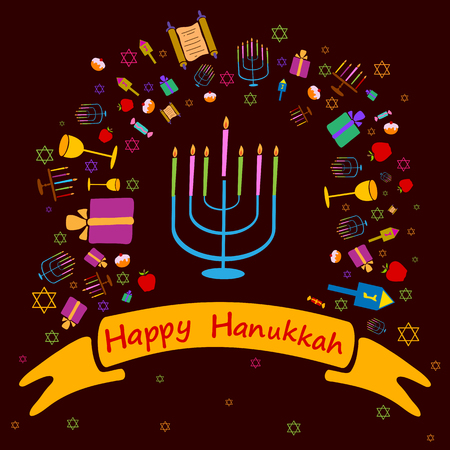 Happy Hanukkah holiday greeting background in vector Illustration