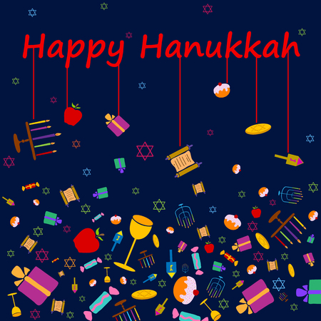 hanukah: Happy Hanukkah holiday greeting background in vector Illustration