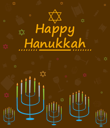holiday greeting: Happy Hanukkah holiday greeting background in vector Illustration
