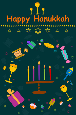 channukah: Happy Hanukkah holiday greeting background in vector Illustration