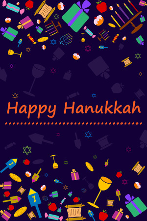 candelabrum: Happy Hanukkah holiday greeting background in vector Illustration