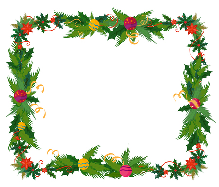 ornamental borders: Merry Christmas celebration border and decoration frame in vector