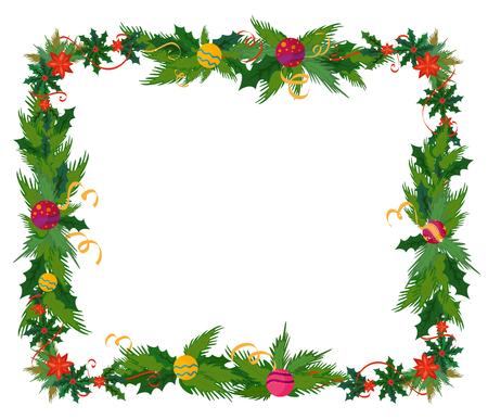 Vrolijk kerstfeest grens en decoratie frame in vector Stock Illustratie