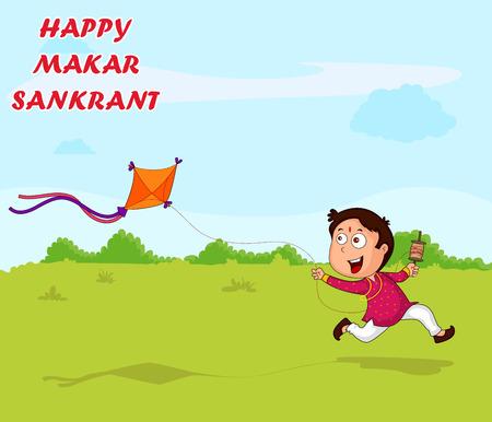 auspicious occasions: Boy flying kite for Happy Makar Sankrant