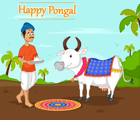 Happy Pongal celebration with farmer offering rice to cow
