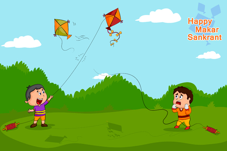 indian traditional: Boy flying kite for Happy Makar Sankrant  Illustration