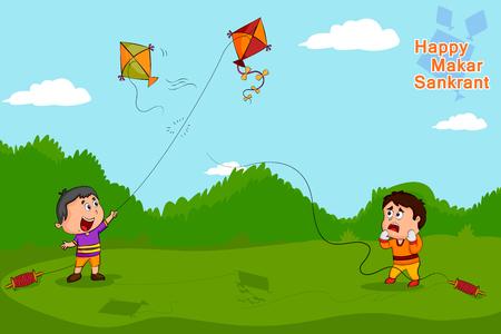 papalote: vuelo de la cometa Boy para Happy Makar Sankrant Vectores