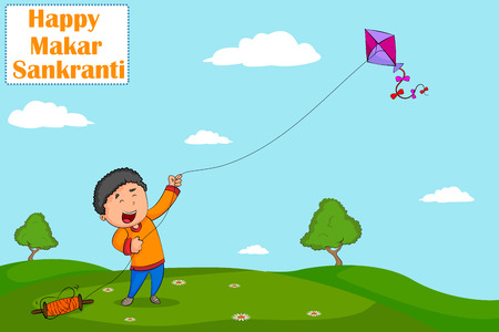 flying kite: Boy flying kite for Happy Makar Sankrant  Illustration
