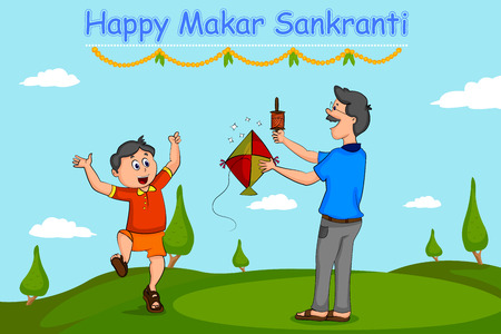harvesting: Boy flying kite for Happy Makar Sankrant  Illustration