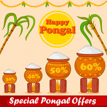 sugarcane: Happy Pongal celebration with sugarcane and pot of rice