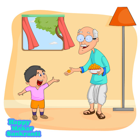 harvesting: Man giving sweet to boy for Makar Sankranti  Illustration