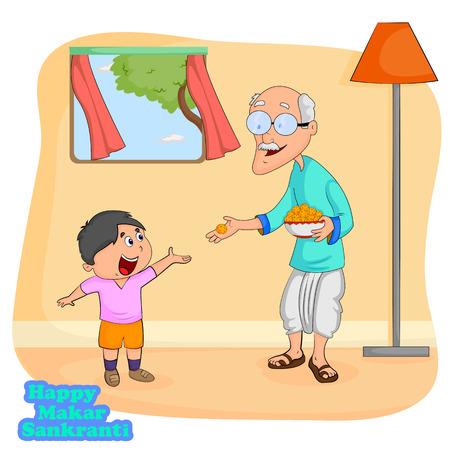 Man giving sweet to boy for Makar Sankranti  Illustration
