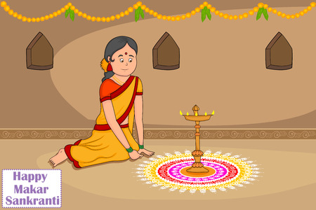 rangoli: Woman making rangoli for Indian festival, Makar Sankranti  Illustration