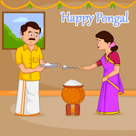 Happy Pongal celebration with sugarcane and pot of rice