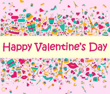 love letter: Feliz día de San Valentín del fondo de felicitación del día Vectores