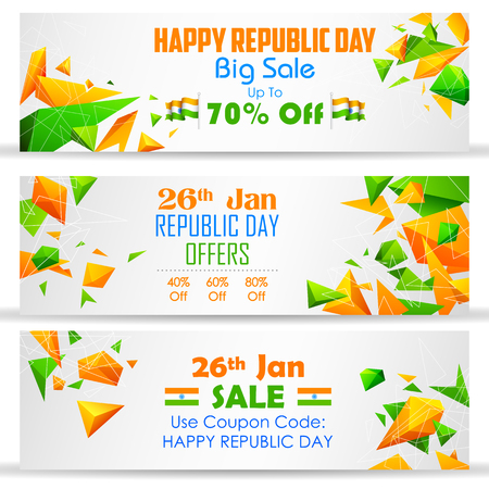 green flag: illustration of Republic Day sale banner with Indian flag tricolor