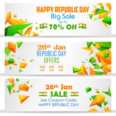 bandera de la india: ilustración de la bandera de la venta Día de la República con la India bandera tricolor Vectores