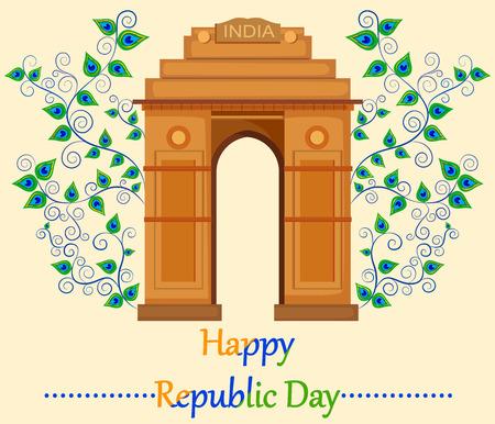 verjas: Feliz Día de la República de la India con la Puerta de la India Vectores