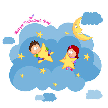 day dreaming: Love couple with heart for Valentines day in vector Illustration