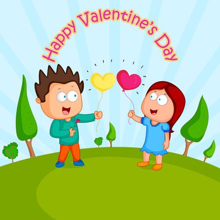 parejas amor: Pares del amor con el corazón para el día de San Valentín en vector