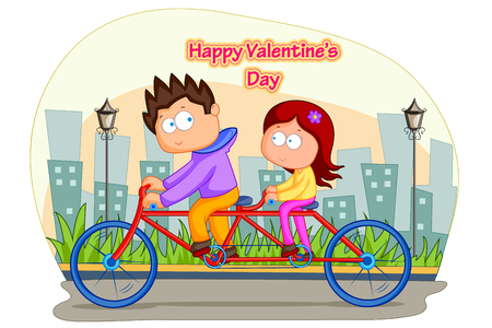 family illustration: Love couple riding on cycle for Valentines day in vector Illustration