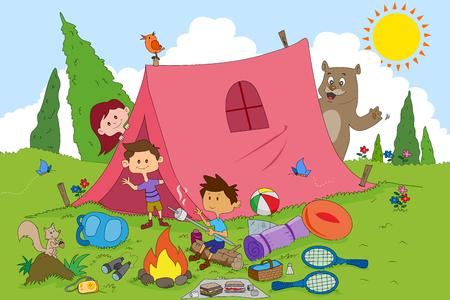孩子们在矢量享受夏令营活动