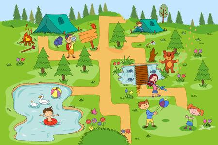 Children enjoying summer camp activities in vector Illustration