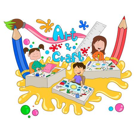 Kinderen genieten van de zomer kamp kunst en ambachtelijke activiteiten in vector