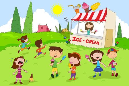 venture: Children enjoying summer camp activities in vector Illustration