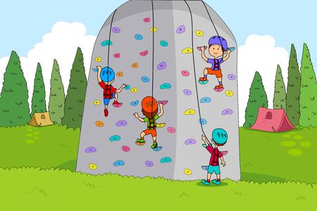 niño trepando: Los niños disfrutan de actividades de escalada campamento de verano de la roca en vector