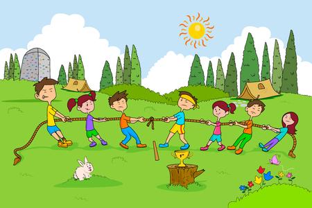 Kinderen genieten van de zomer kamp touwtrekken activiteiten in vector